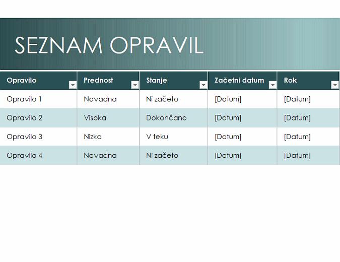 Preprost seznam opravil