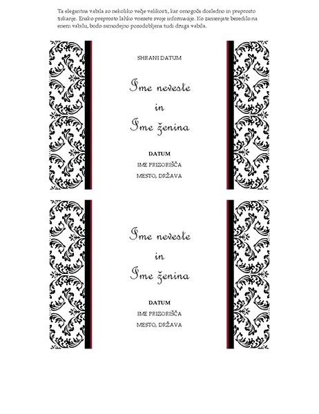 Vabilo na poroko – shranite datum (črno-bel dizajn vabila na poroko)
