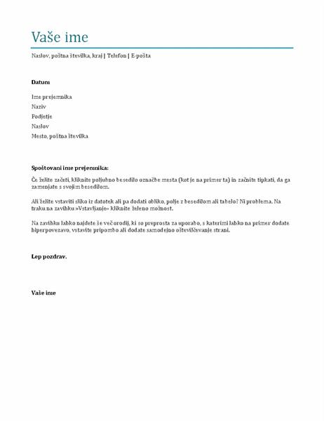 Spremno pismo (modro)