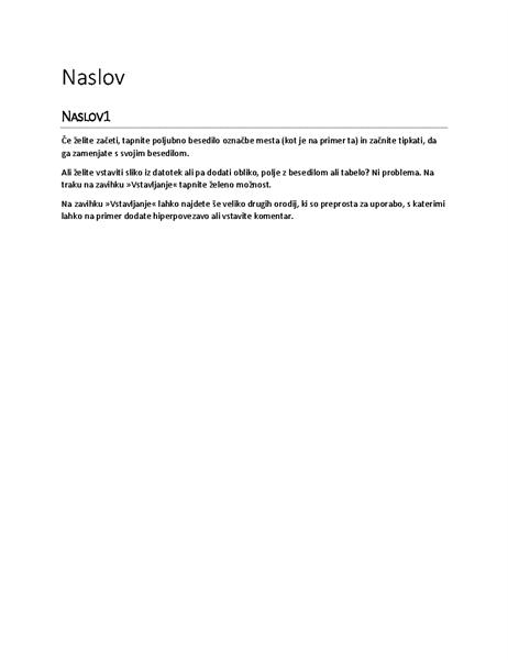 Načrt »Poročilo« (prazno)