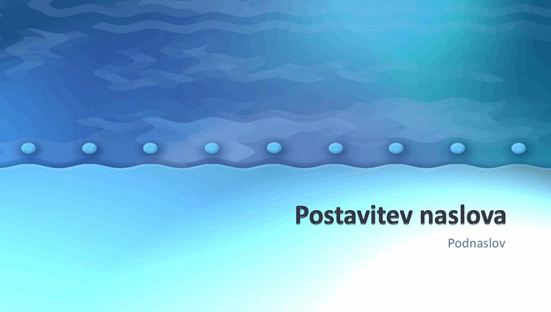 Diapozitivi načrta s turkizno modrimi valovi