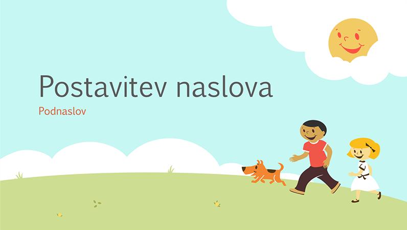 Načrt šolske predstavitve z motivom otrok, ki se igrajo (ilustracija, širokozaslonsko)