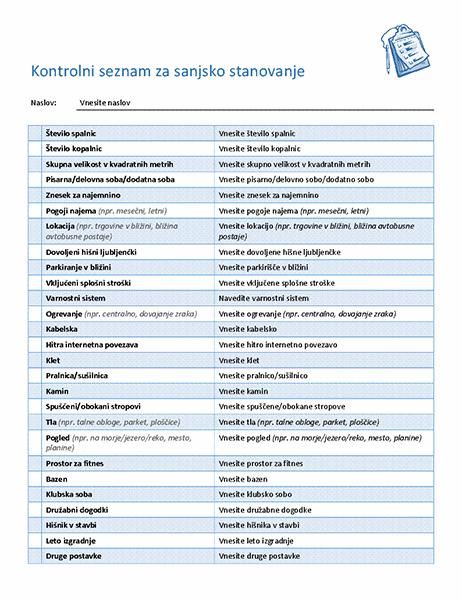 Kontrolni seznam za izbiro idealnega stanovanja