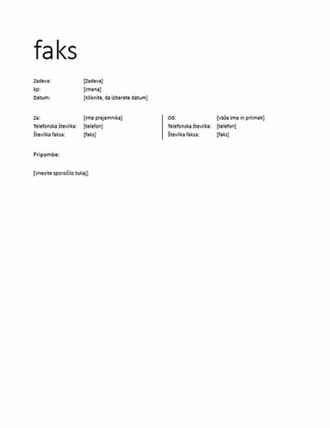 Naslovna stran faksa (neformalno)