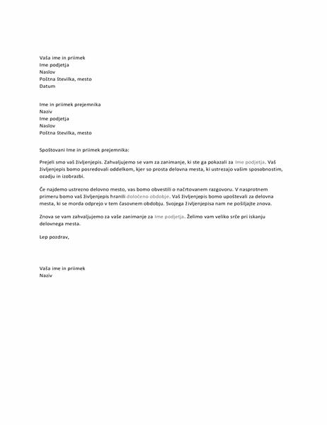 Pismo prosilcu zaposlitve, ki potrjuje prejem prošnje