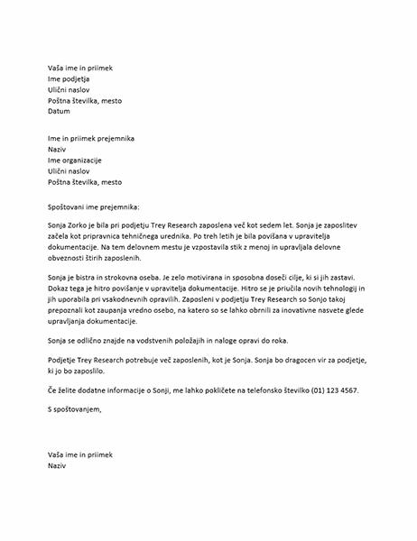 Priporočilno pismo za vodjo