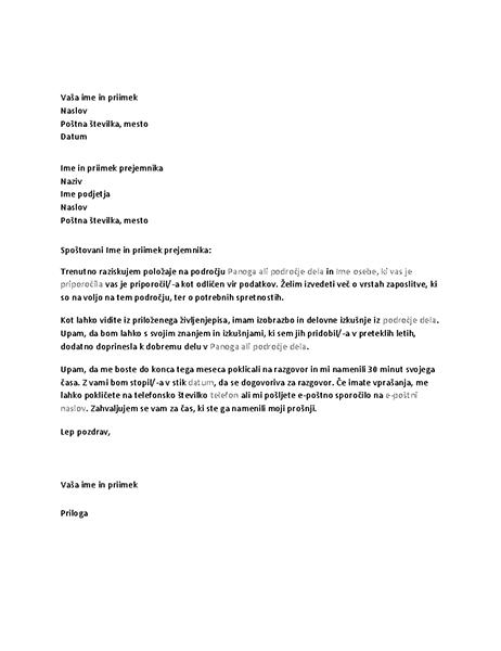 Pismo za zaposlitveni razgovor