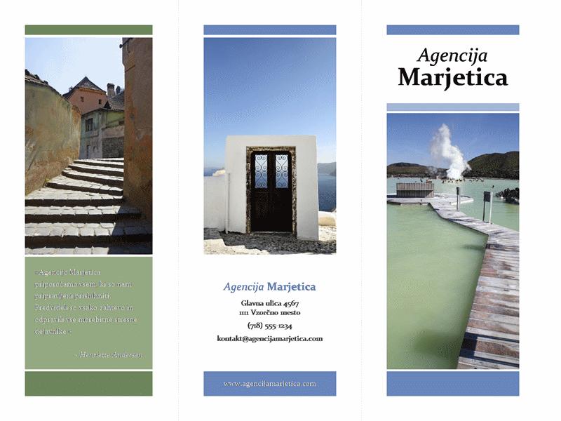 Tridelna potovalna brošura (morda, zelena zasnova)