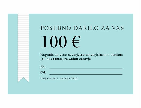 Nagrada z darilnim bonom (zlati trak)