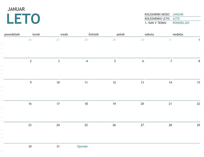 Enomesečni koledar za katero koli leto z opombami