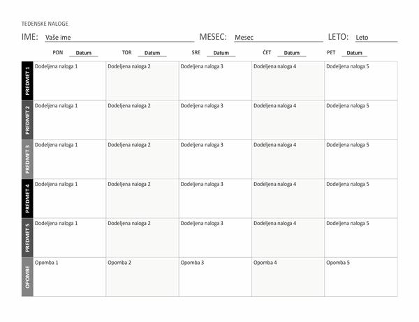 Tedenski seznam dodeljenih nalog (ležeče)