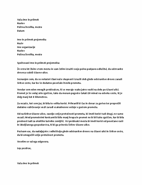 Pismo podpore lokalnemu predstavniku
