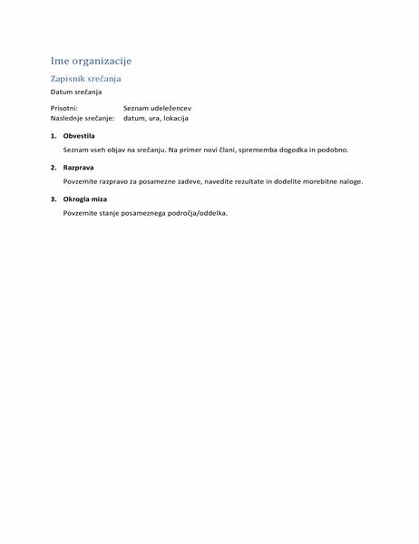 Zapisnik s srečanja (kratka oblika)