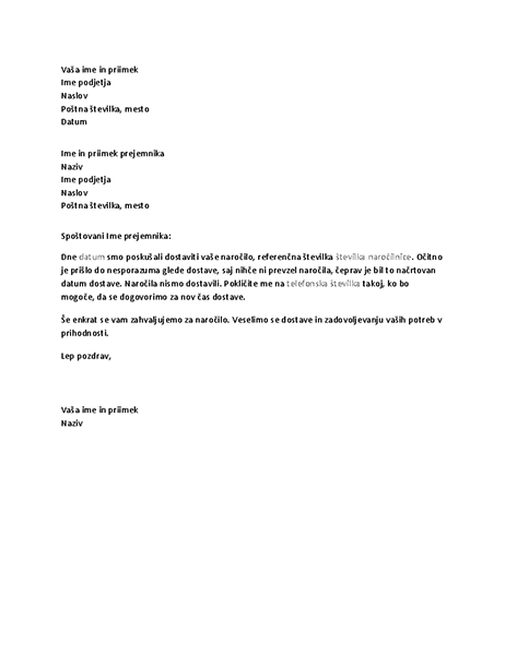 Pismo, ki stranko obvešča o zamujeni dostavi