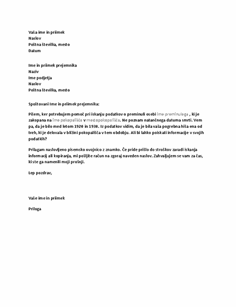 Pismo, s katerim prosite za informacije iz pogrebnega zavoda.