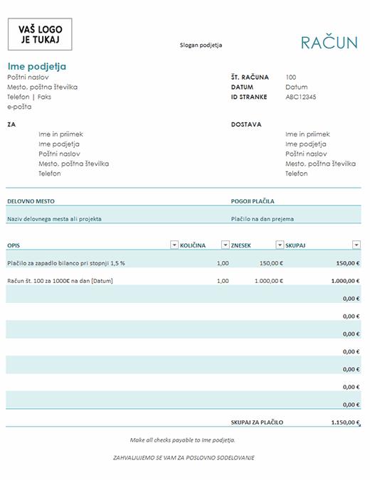 Račun s finančnim pribitkom (modra)