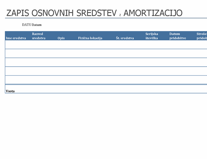 Zapis osnovnih sredstev z amortizacijo
