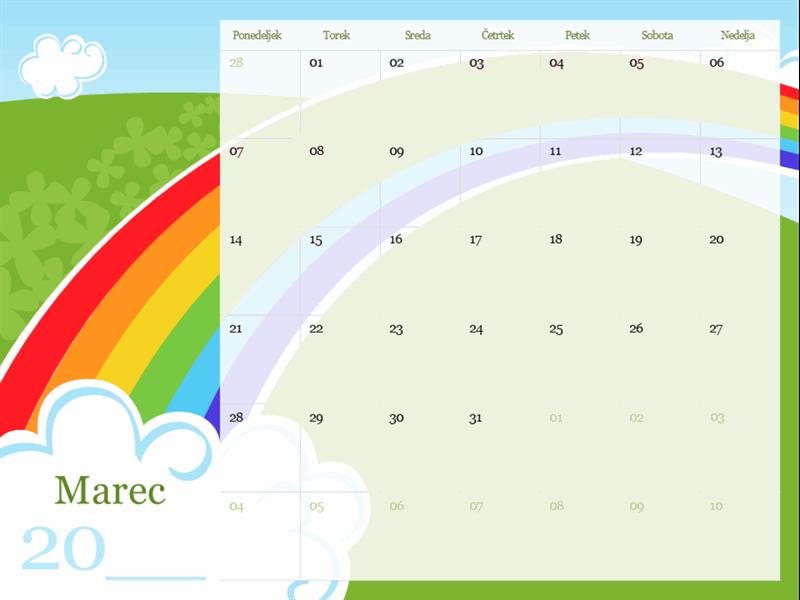 Slikovni koledar z letnimi časi (pon.–ned.)