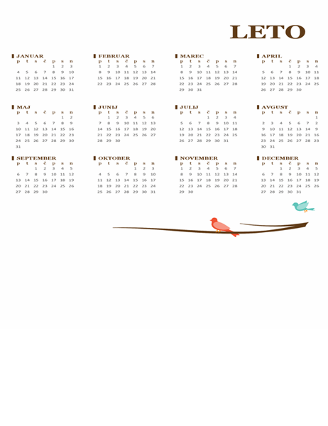 Letni koledar (pon.–ned.) – ptice