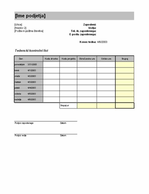 Tedenski kontrolni list po stranki in projektu