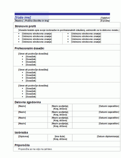 Funkcionalni življenjepis (načrt z modro črto)