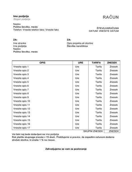 Račun za opravljene storitve z urami in cenami