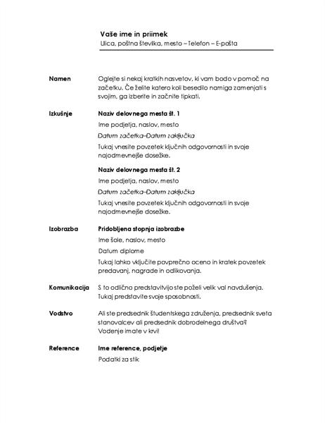 Kronološki življenjepis (načrt »Minimalistično«)