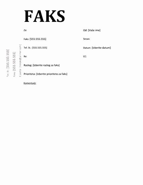 Naslovnica faksa (akademska oblika)