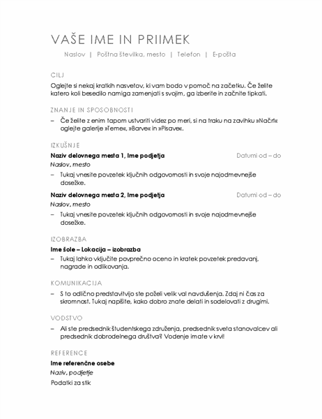 Življenjepis (minimalistični načrt)