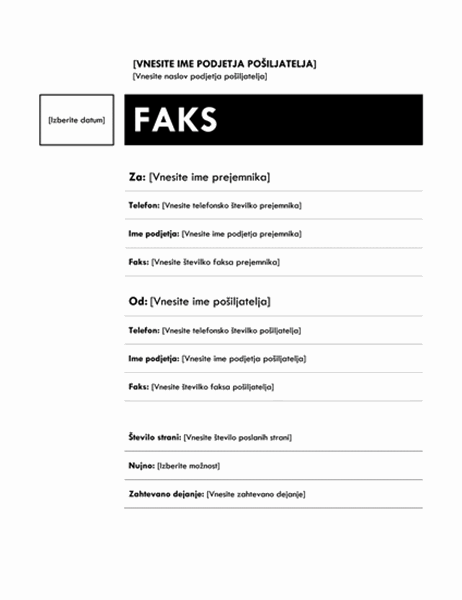 Naslovnica faksa (načrt Sredinsko)