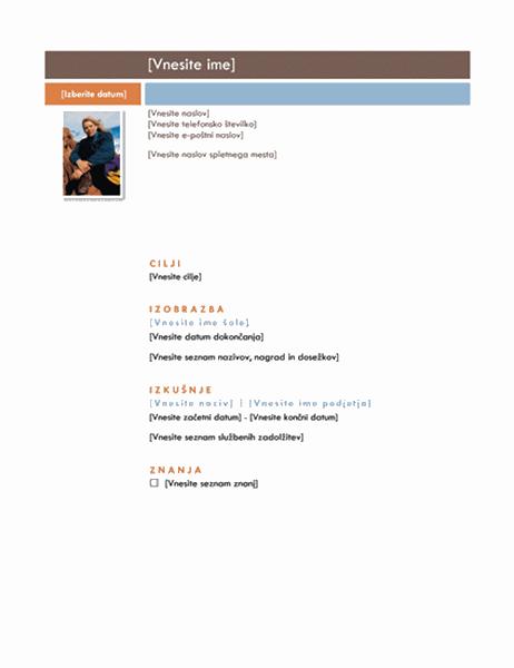 Življenjepis (načrt Sredinsko)