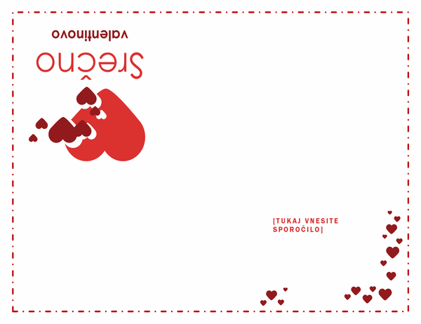 Voščilnica za valentinovo (četrtinski pregib)