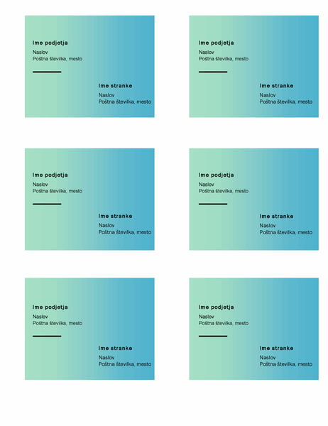Nalepke z naslovom za dostavo (oblikovanje s prelivanjem v zelenih odtenkih, 6 na stran, za predlogo Avery 5164)
