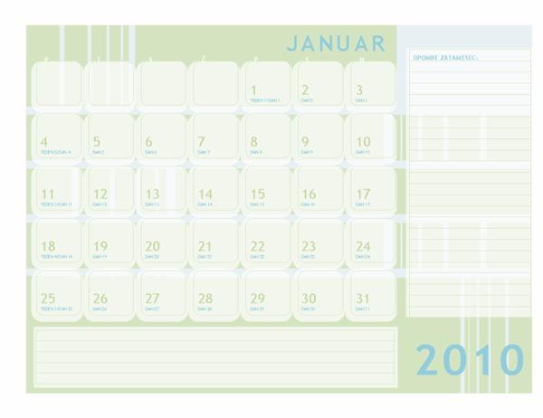 Julijanski koledar za leto 2010 (ponedeljek–nedelja)