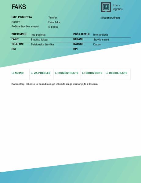 Naslovna stran faksa (oblikovanje z zelenim prelivanjem)
