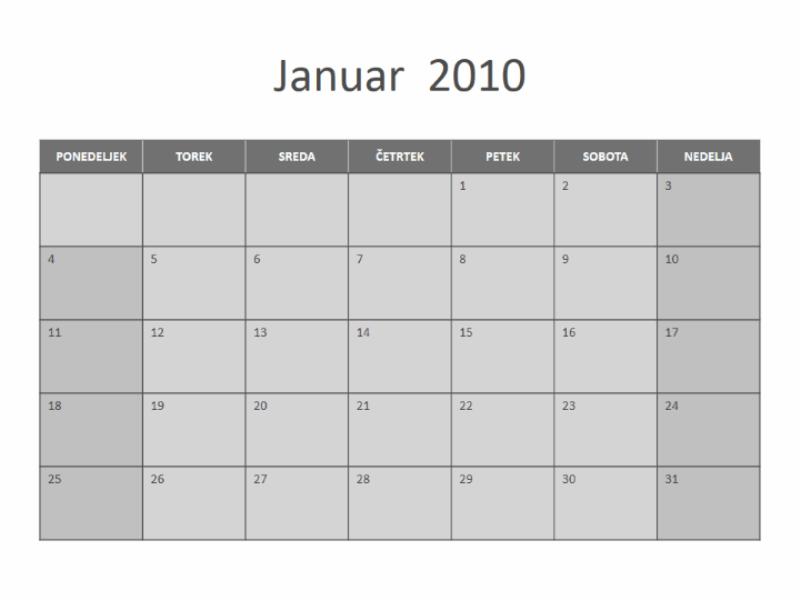 Koledar za leto 2010 (ponedeljek–nedelja)