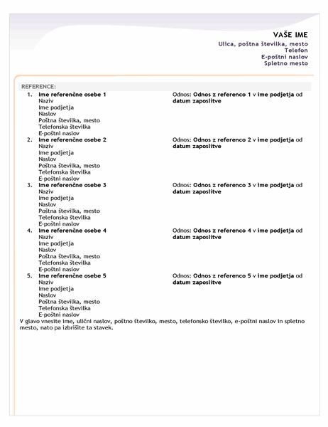 Seznam z referencami za prijavni življenjepis