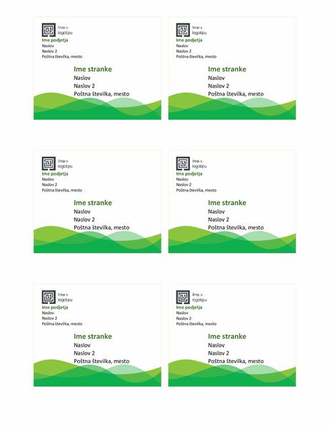 Nalepke z naslovom za dostavo (dizajn zelenega vala, 6 na stran)