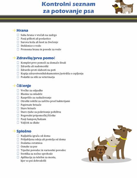 Kontrolni seznam za potovanje s psom