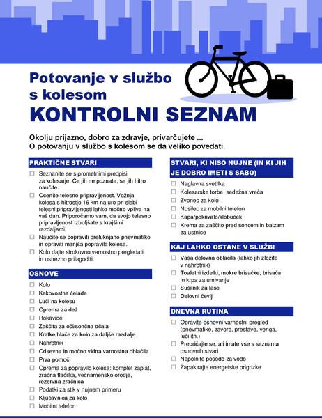 Kontrolni seznam za potovanje s kolesom