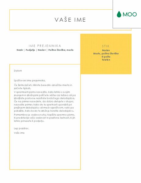 Jedrnato in pregledno spremno pismo, zasnovano v podjetju MOO
