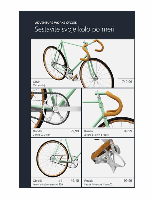 Katalog izdelka 3D v Excelu (model kolesa)