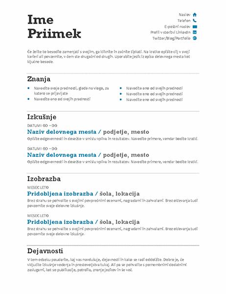 Uravnotežen življenjepis (sodobna oblika)