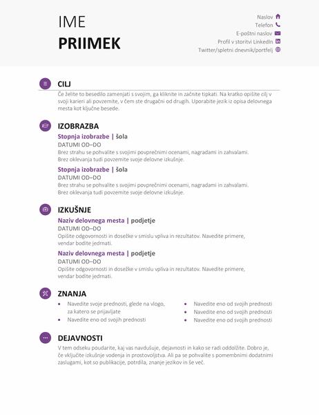 Življenjepis za študente (sodobna oblika)