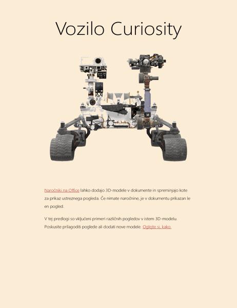 3D-znanstveno poročilo v Wordu (model Mars Rover)