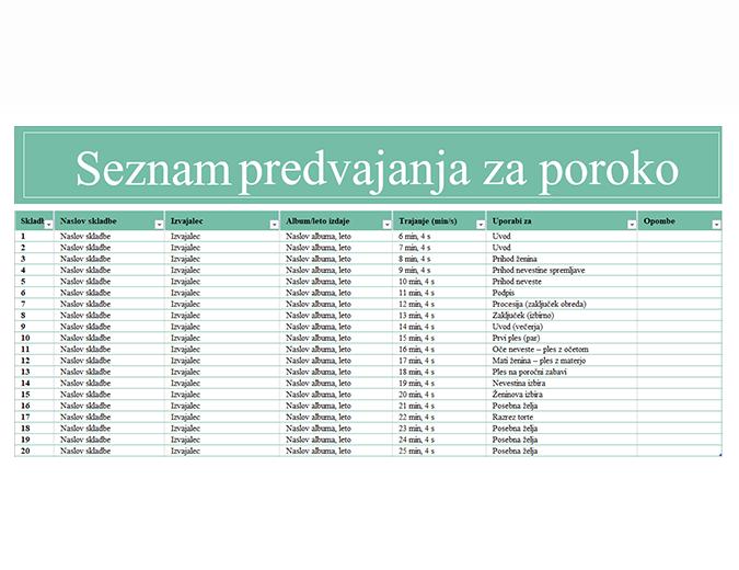 Seznam predvajanja za poroko