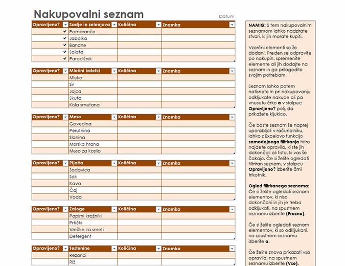 Nakupovalni seznam s prostorom za vpis blagovne znamke