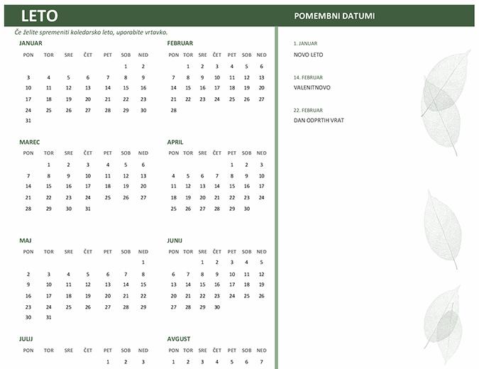 Poslovni koledar (poljubno leto, pon.–ned.)