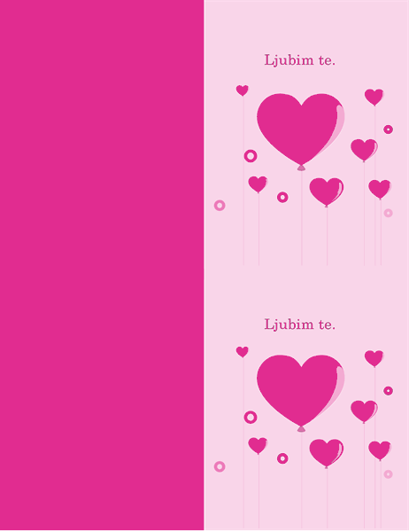 Čestitka za valentinovo z motivom balonov