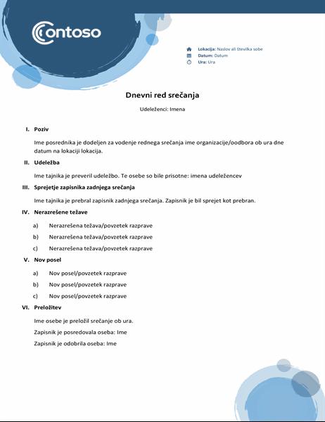 Dnevni red z motivom modrih krogel
